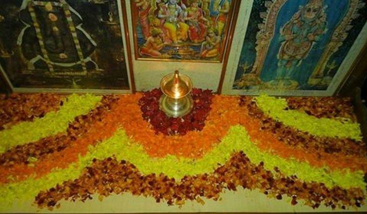 Flower Rangoli Decoration for Pooja Room