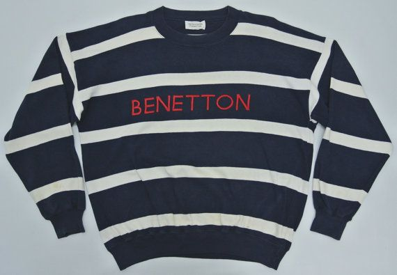 Vintage BENETTON Rugby Striped Made in Italy Sweatshirt ZdS7ZZ5Zz
