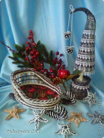 Мастер-класс Поделка изделие Новый год Плетение ЗВЁЗДЫ ИЗ БУМАГИ  Бумага газетная Трубочки бумажные фото 13