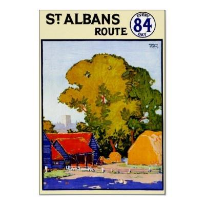 St. Albans England ~ Vintage UK Travel Poster