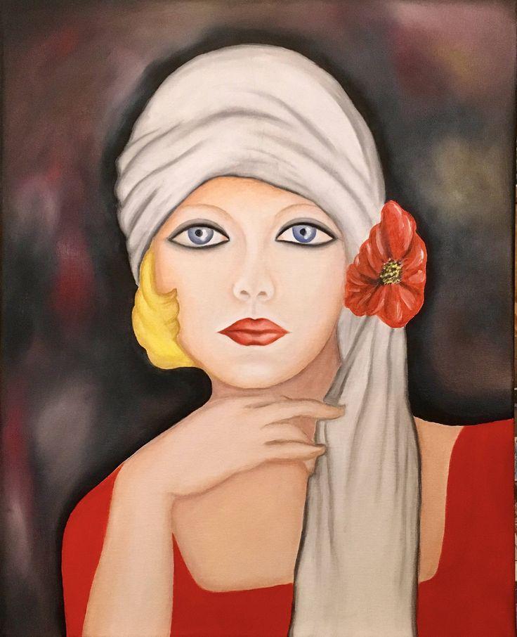 Handmade oil painting abstract portrait on canvas by RainbowByIrida on Etsy