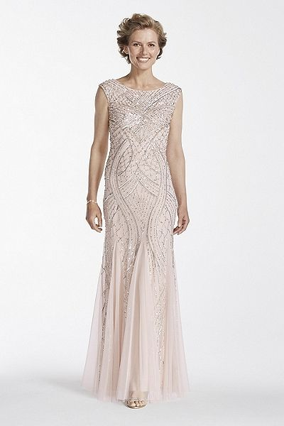 Blush Cap Sleeve Long Beaded Gown with Godets for mother of the bride or mother of the groom.