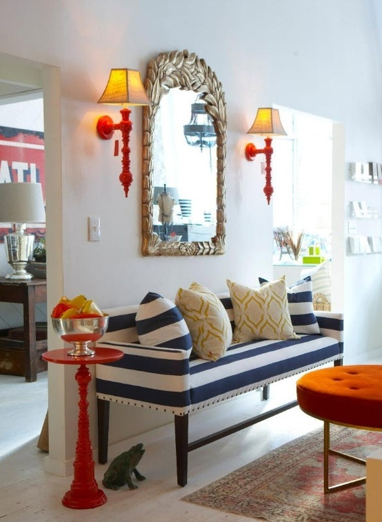 Orange Ottoman, Blue And White Striped Love Seat, Red Side Table.  Barbie S Not The Only One With A Dream House