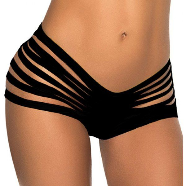 Sexy Mid-Waisted Solid Color Cut Out Women's Briefs