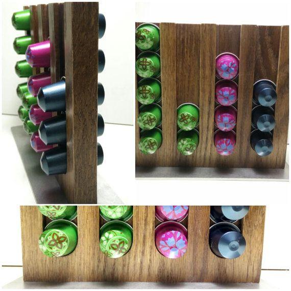 Coffee Nespresso Pod Capsule Holder Stand Rack Display Wood