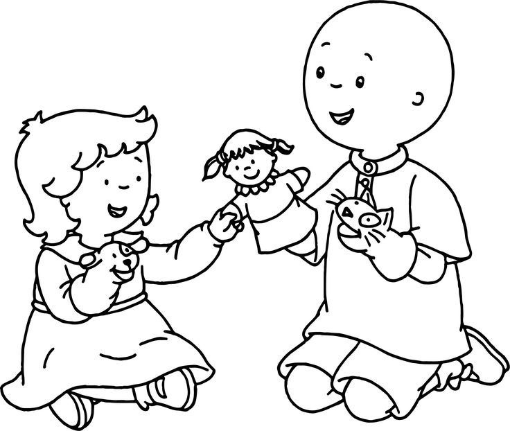 nice Caillou Rosie Play Coloring Page Coloring pages