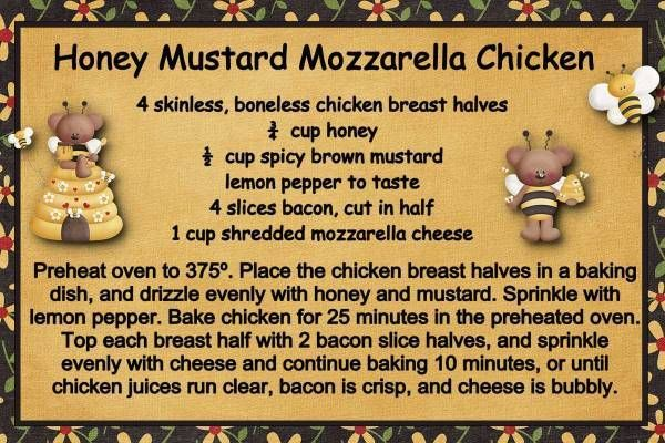 Honey Mustard Mozzarella Chicken This sounds wonderful! (And you can ...