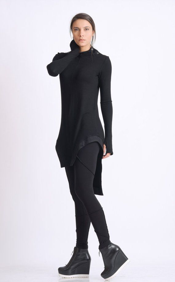 Black Asymmetric Top/Thumb Hole Sleeve Tunic/Fitted Black Tunic Top/Casual Everyday Blouse/Black Handmade Tunic/Asymmetric Black Top
