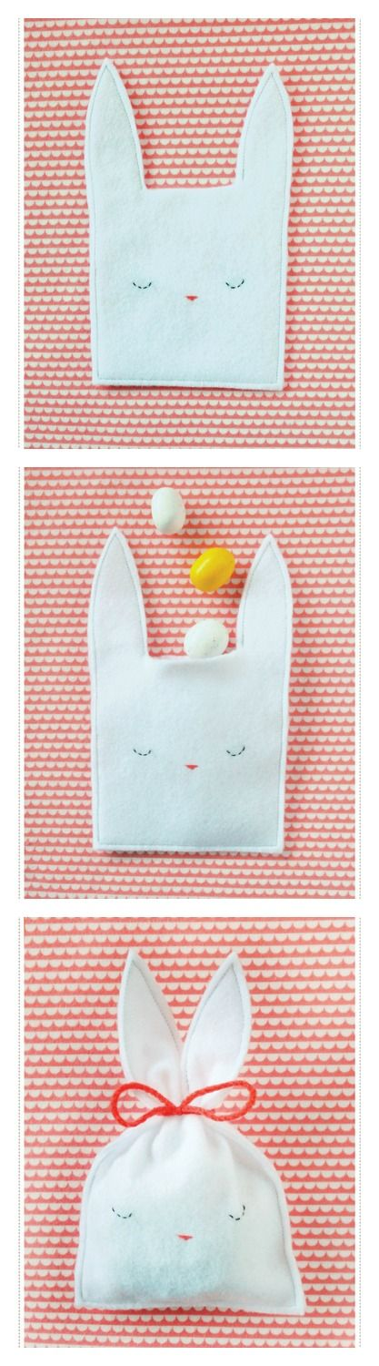 "Little ""bunny ears"" bags...pre-cut and pre-punch, of felt. Let child stitch with yarn through the punched holes! Pinked edges would be nice...(Spring craft, with a child)"