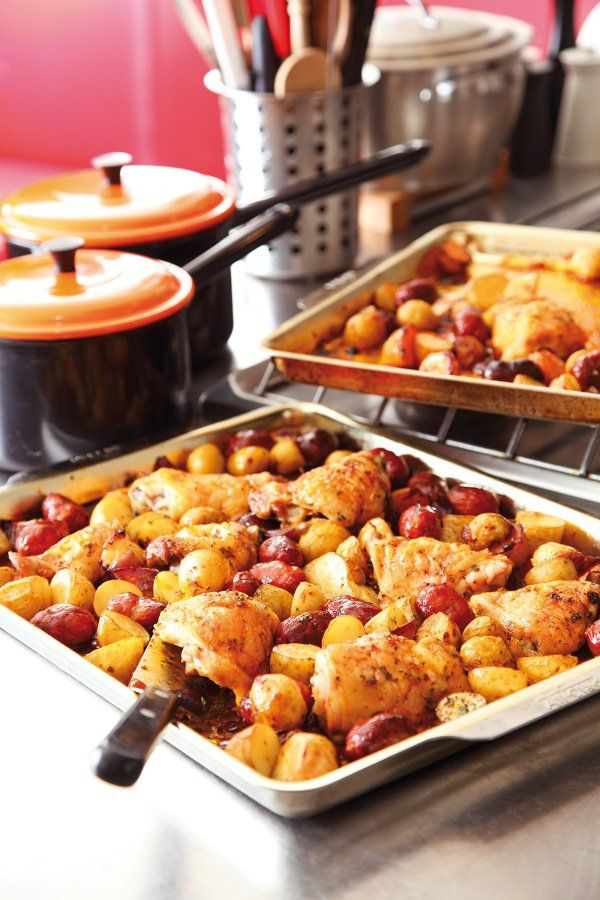 Spanish Chicken With Chorizo and Potatoes. Swap out the potatoes for sweet potatoes. Nigella