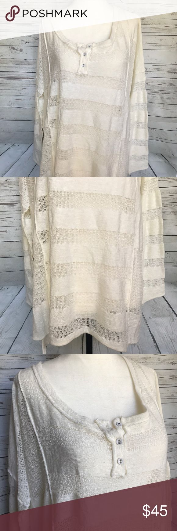 "Free People Off White Lace Long Sleeve top XS Free people off white cream colored lace detail long sleeve top size XS. New with tags. Smoke free home. Bust - 25"" length - 24"" Free People Tops Blouses"