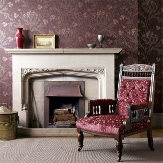 by William Morris   'Artichoke' by William Morris was originally designed by John Henry Dearle in 1898 as a multicoloured wallpaper  reintroduced in a stunning monotone version the boldness of the artichoke motif now creates the impact  click here if you wish to order samples  surflex-printed wallpaper pattern repeat 20.5 in roll width 20.5 in, length 33 ft  coverage 56 sq ft