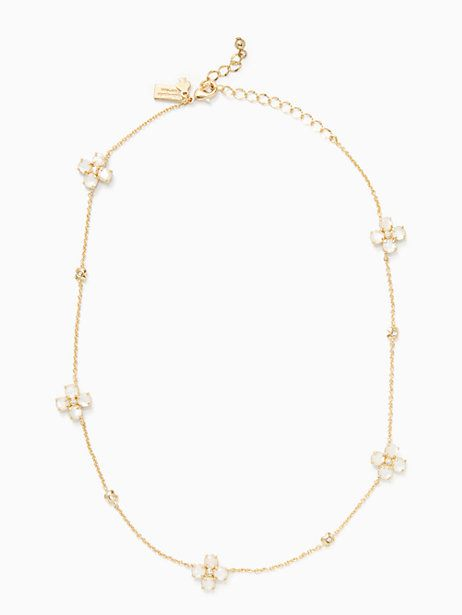 central park pansy short scatter necklace, cream/ clear