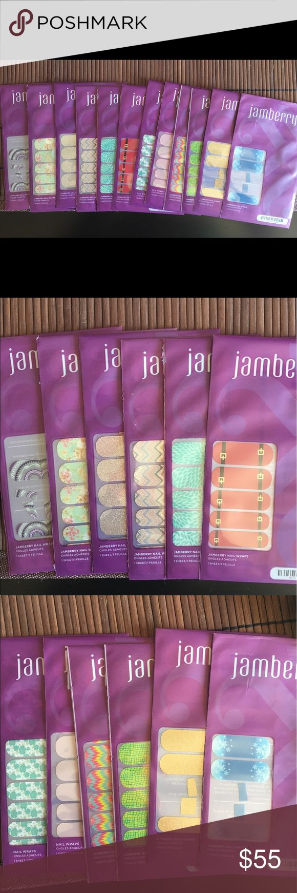 Jamberry Nail wrap bundle 12 nail wrap packages. Most unopened and some are missing just a few. Trying to get rid of them all. Also have a mini heater for sale if interested. This are a list of the wraps I have:  Let it Snow Santa suit Lotus Hot to Croc Tropical Mirage Daydream Destiny Sugar and spice Diamond dust sparkle Gold sparkle Vintage Chic Wisteria jamberry Makeup Brushes & Tools
