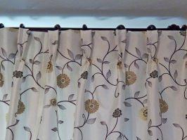 """Les Belles Assises - Décembre 2016 - Confection de doubles-rideaux avec tête de rideau """"plis flamands"""". Confection des embrases. Tissu de chez """"Prestigious Textiles""""."""