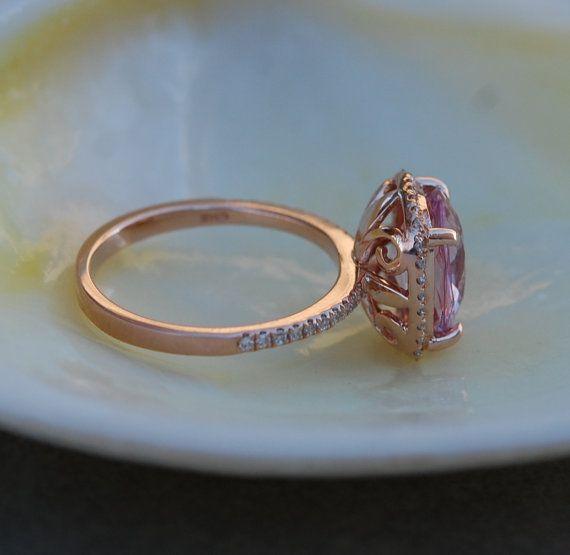 Zafiro de zafiro anillo 14k Rose oro diamante por EidelPrecious