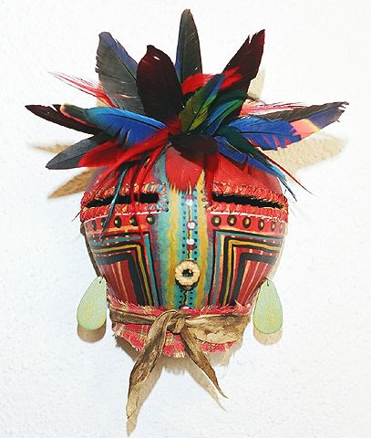 Striped Kachina Face Mask With Parrot Feathers By Robert