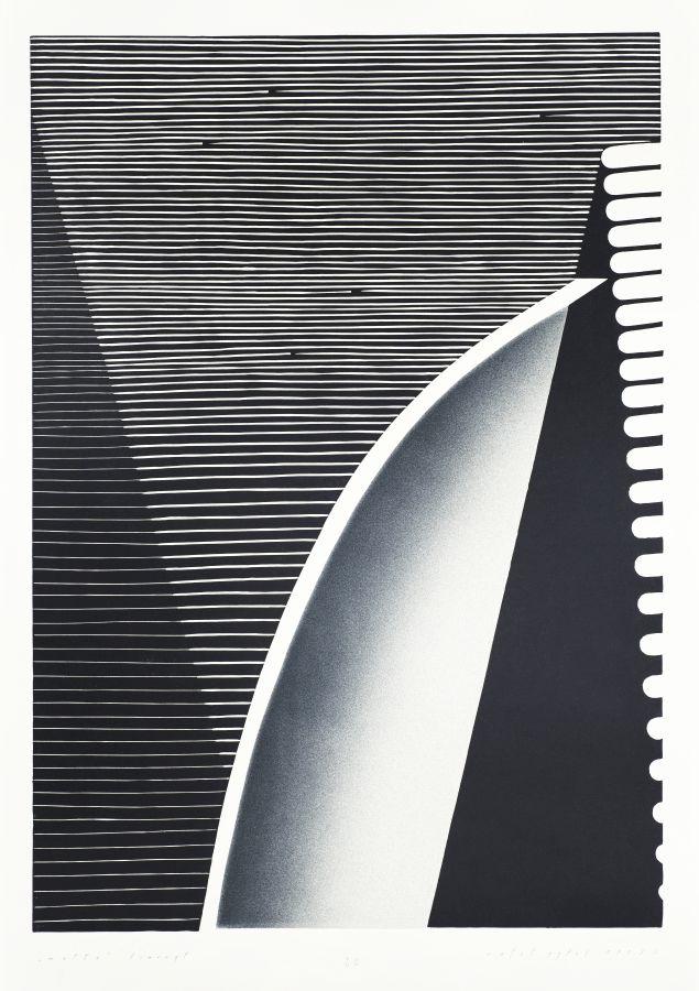 Rafal Pytel, Matta, linocut and digital print, graphic on paper, polish graphic, abstract art, abstract graphic, black and white, modern art, organic