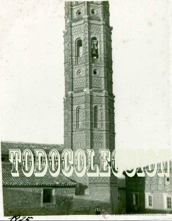 Muniesa Torre Mudejar Iglesia de la Asunción antiguo positivo en celuloide hacia 1920 Teruel - Foto 1