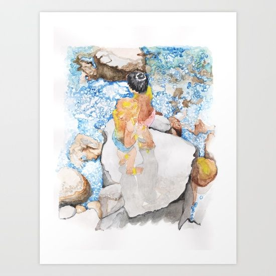 Children on the rocks www.artoutloop.com #children, #kids, #watercolor, #sea, #water, #rocks, #boys, #art, #illustration, #paiting