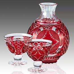 Sada na drink • červené broušené sklo, Edo Kiriko