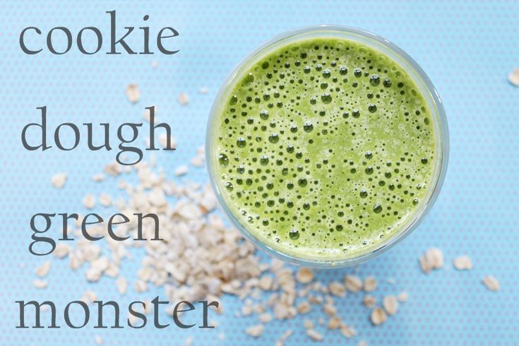 Cookie Dough Green Monster- Made today and was scrumptious! Used 3 cups spinach, 1/2 cup Fage 0%, 1 cup unsweetened vanilla almond milk, 1 tsp vanilla, 1/3 cup oats, 1/4 tsp cinnamon, 2 tsp raw sugar, and 1 sliced frozen banana! Mmmmm!