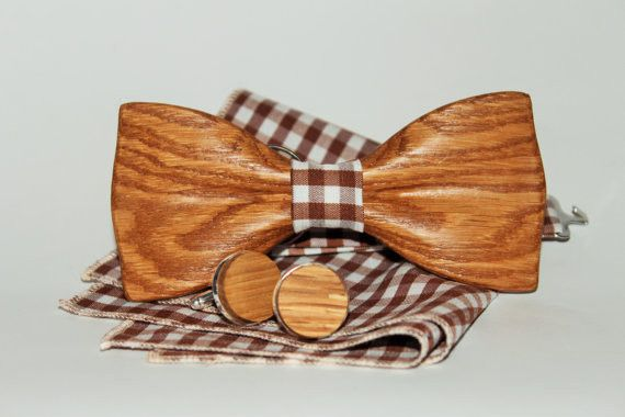 His And Hers Gifts – Wooden bow tie with pocket square + Cufflinks – a unique product by WoodTon on DaWanda
