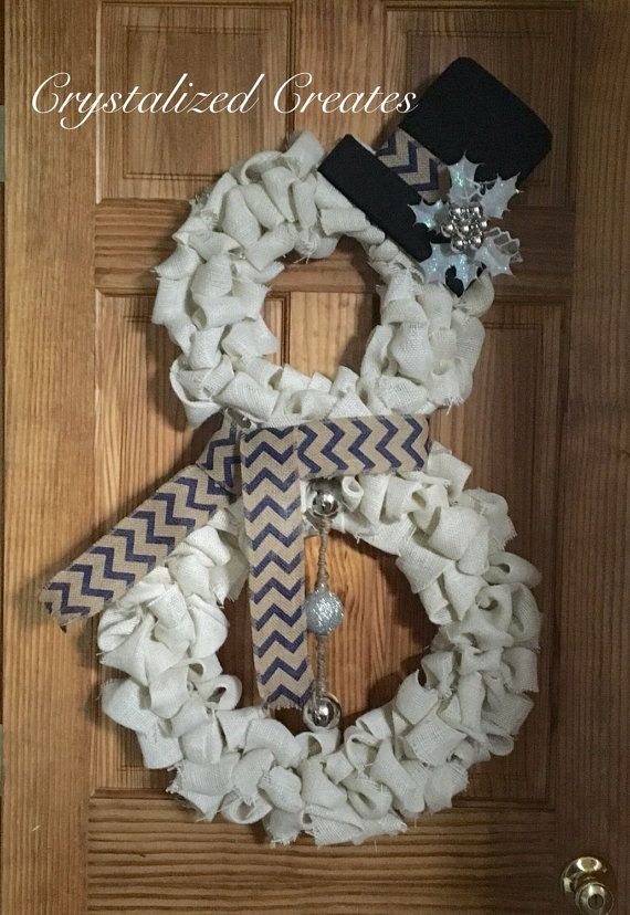 Cute White Burlap Snowman Wreath with either a red plaid scarf, gray chevron scarf or blue chevron scarf. Black felt hat with either Holly or