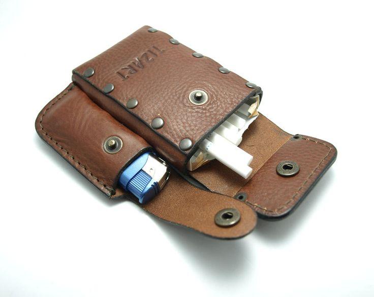 Tobacco Pouches – leather slim cigarette case Tobacco Pouches – a unique product by TIZART on DaWanda