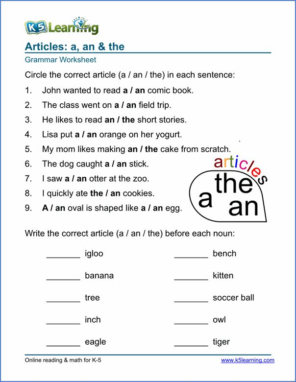articles worksheet sample grammar worksheets english