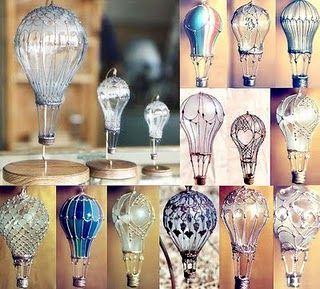 Beautiful hot air balloons made of old light bulbs