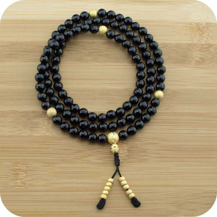 Faceted Black Onyx Meditation Mala Necklace with Gold Plated Brass - Meditative Wisdom