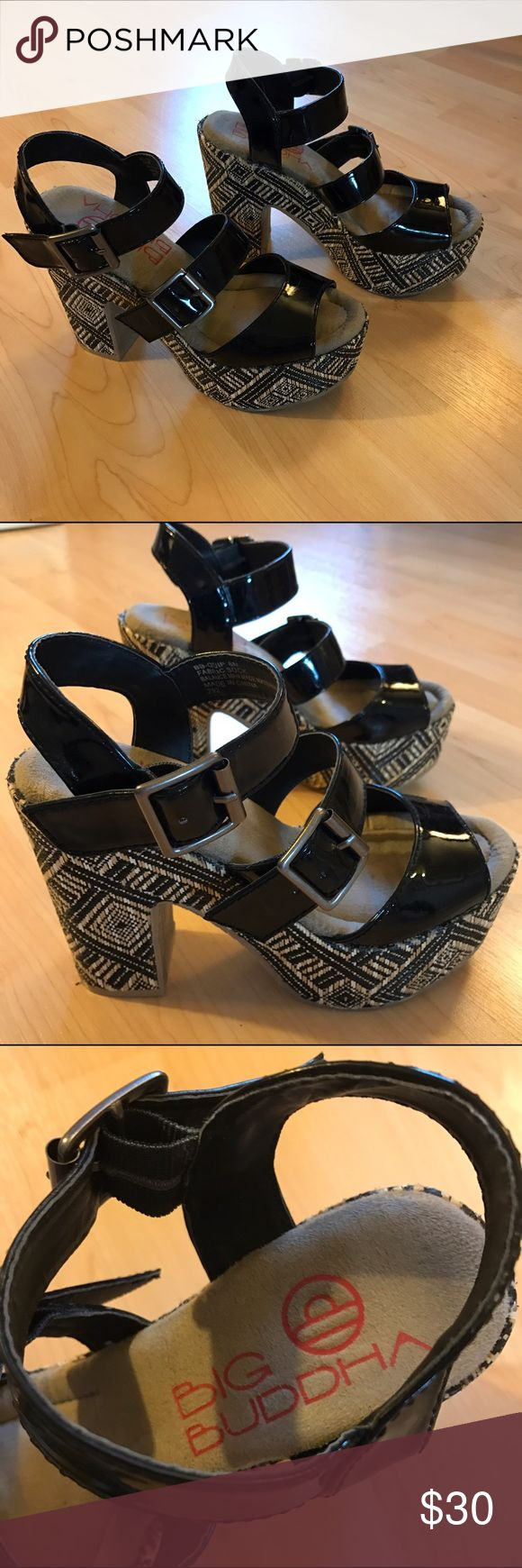 "Big Buddha Quip platform shoes Vegan black patent platform with black and natural tribal print, woven raffia heel, worn once, excellent condition, soft footbed, 1 3/4"" tall at toe and ball of foot, 4 3/4"" tall at heel, double buckle, very cool Big Buddha Shoes Platforms"