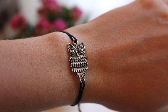 Black string owl bracelet, owl bracelet, silver owl bracelet, black string bracelet, rose bead bracelet, adjustable owl bracelet,owl charm