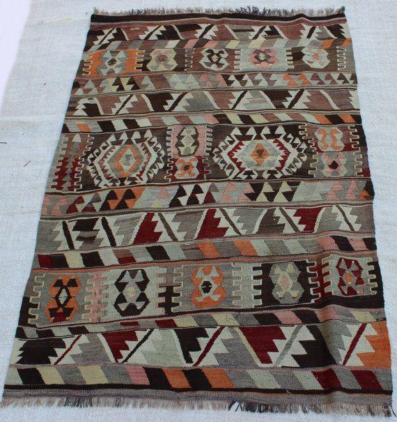 6'x4' / 182x124cm turkish rug kilim faded colors handmade vintage rug kilim pastel colors etnic rug kelims turkish carpet handmade tapetsry