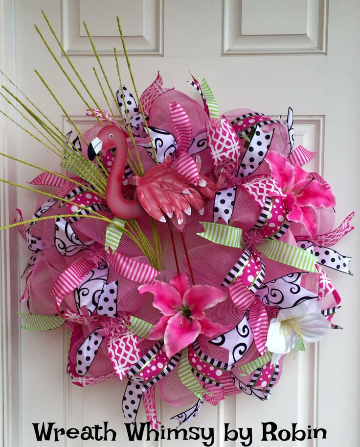 Pink Flamingo Spring/Summer Tropical Deco Mesh Wreath by WreathWhimsybyRobin on Etsy