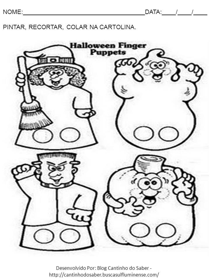 Halloween Finger Puppets Pages Coloring Pages