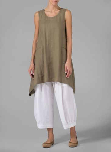 Linen High-Low Extra Long Tunic Khaki Beige