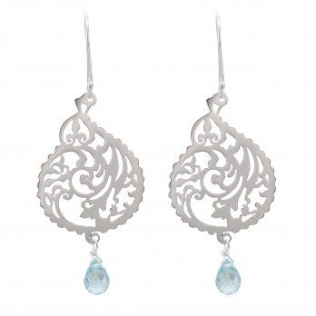 Ananda Vibrance Earrings . Sterling Silver . Blue Topaz