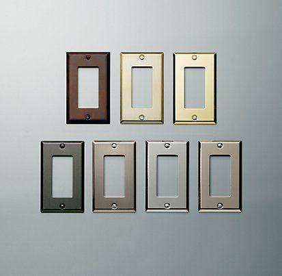 Metal Switch Plates | Restoration Hardware | Update the plug covers on the kitchen backsplash!