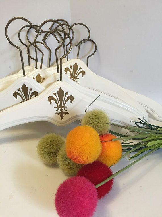 WHITE WOODEN HANGER  w/ Golden Fleur de Lis by agelessalchemy