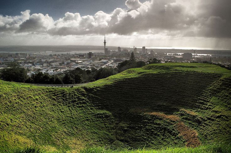looking into and over the Mount Eden (Maungawhau) crater in Auckland, NZ // photo by alan collins