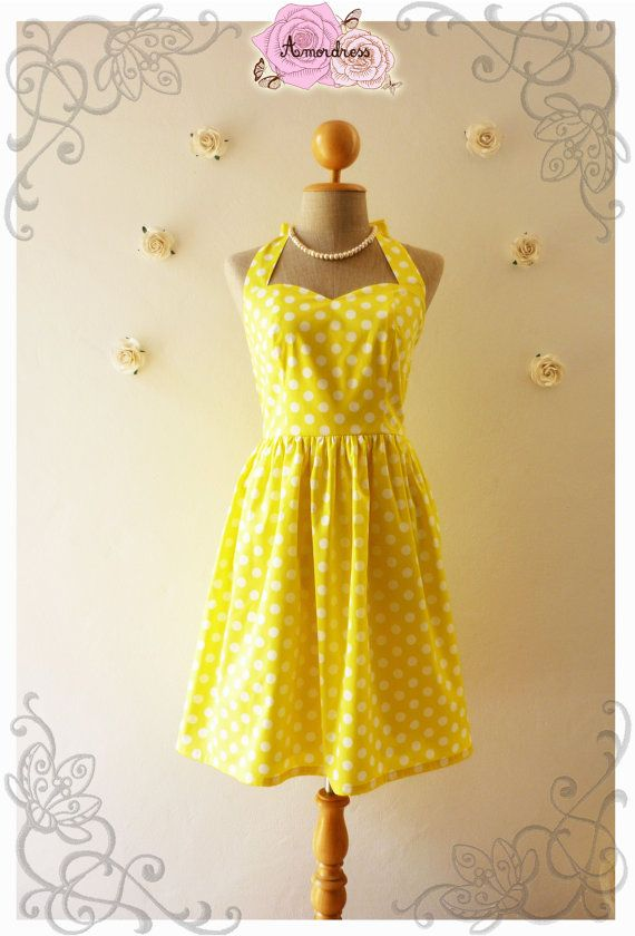 Yellow Summer Dress Yellow Vintage Inspired Dress Dot by Amordress, $49.00