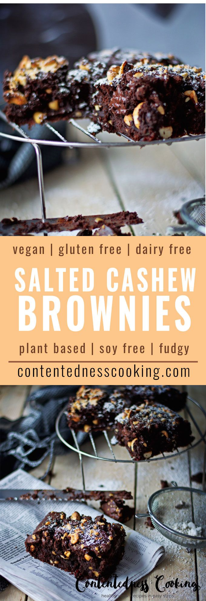 Mind-blowing combination of flavors in this Salted-Cashew Brownies with Orange and Cranberry twists. So good, vegan and gluten free. #plantbased #vegan #dairyfree #soyfree