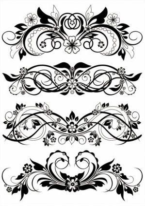 preto e branco,padrão,padrões,borda,canto,desenho de linha,folhas,biografia,clássicos