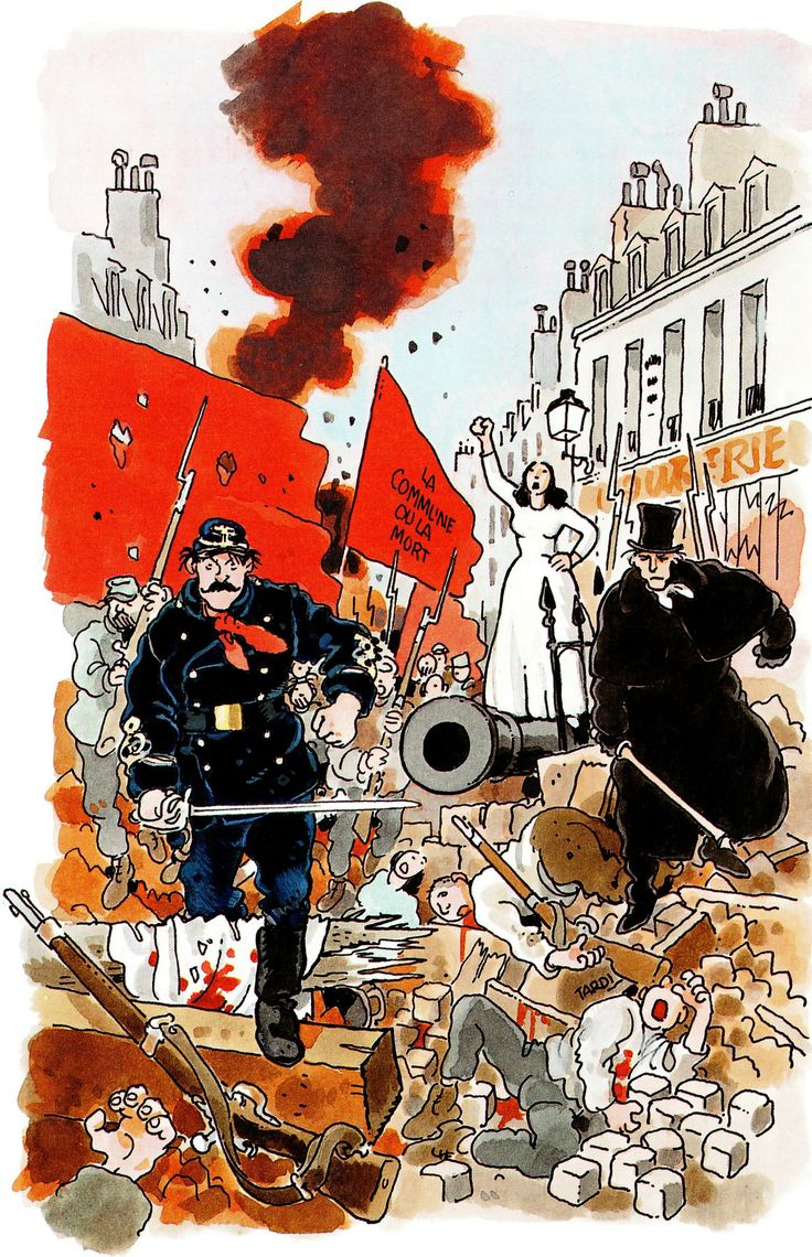 "Jacques TARDI  - Cover for a novel by Jean Vautrin ""Le Cri du peuple"" (The Shout of the People) , Editions Grasset, Paris, 1999"