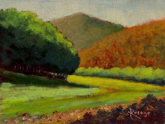 Original painting by Rosage NC Landscape Blue Ridge Mountains by artisticrelease, $40.00