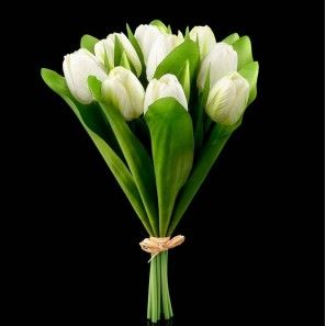 Bouquet de tulipes artificielles blanches