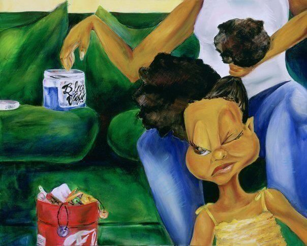 """""""Sit still or I'ma pop you with this brush!"""" Who remembers battling with your heavy handed mama trying to make your hair pretty for the week? #iRemember #memories #backintheday  Interested in this fab piece of art? This is a Courtney Loveless art piece called """"Be Still"""""""