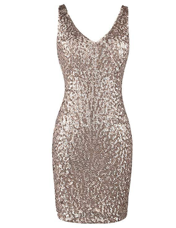 ca6c7ab568 PrettyGuide Women s Sexy Deep V Neck Sequin Glitter Bodycon Stretchy Mini  Party Dress - Blogging ERA